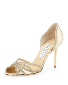 Jimmy Choo Mustique Metallic d'Orsay Sandal, Gold