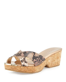 Jimmy Choo Panna Snake-Print Crisscross Slide, Neutral