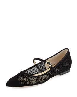 Jimmy Choo Blanch Cap-Toe Velour Flat, Black