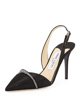 Jimmy Choo Denial Crystal-Trim Halter Pump, Black