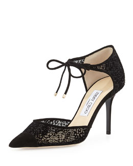 Jimmy Choo Valor Ankle-Tie Burnout Pump, Black