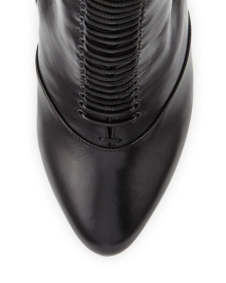 Lamadonne Calfskin Laced Knee Boot, Black