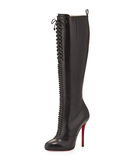 Lamadonne Calfskin Laced Knee Boot, Black