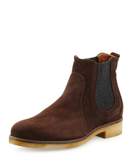 Alberto Fermani Lioni Suede Chelsea Boot, Dark Brown