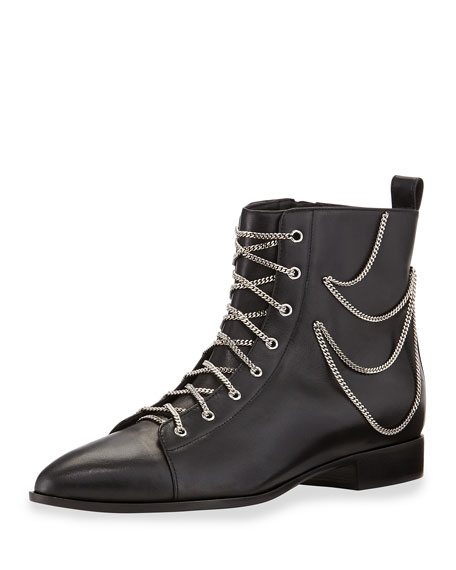 Chain-Trim Lace-Up Bootie