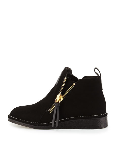 Double-Zip Suede Bootie, Black