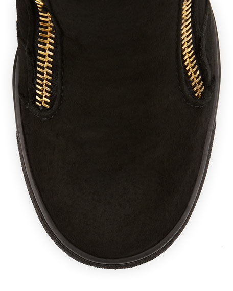 Suede Fold-Down Wedge Sneaker