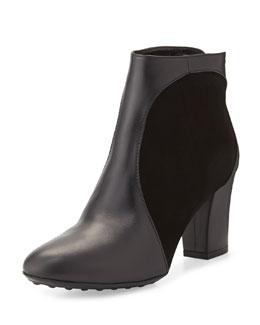 Aquatalia Suede-Inset Leather Ankle Boot, Black