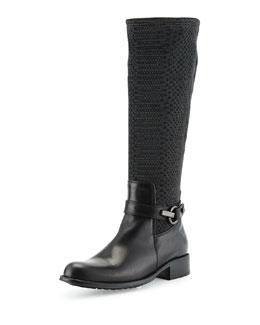 Aquatalia Urope Stretch-Woven Mid-Calf Boot, Black