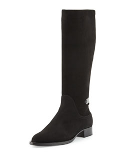 Aquatalia Gutsy Suede Knee Boot, Black