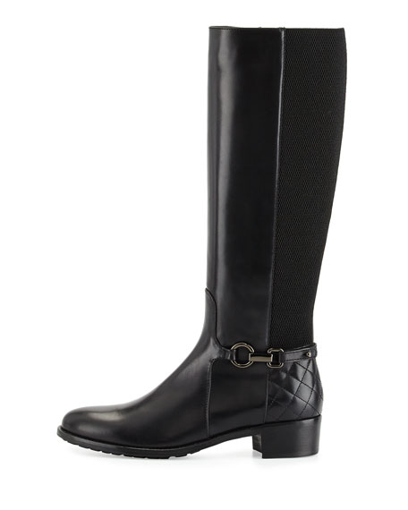 Oralie Leather Stretch Knee Boot, Black