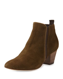 Aquatalia Fabulous Suede Boot with Stacked Heel, Olive