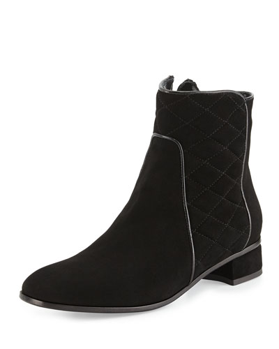 Latifa Quilted Suede Ankle Boot, Black