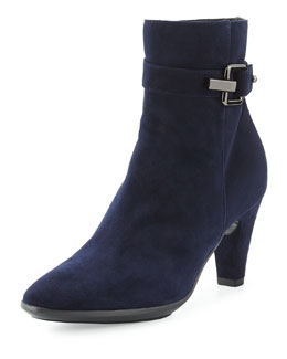Aquatalia Dorotea Stretch Suede Bootie, Navy