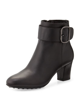 Aquatalia Ziva Leather Ankle Boot, Black
