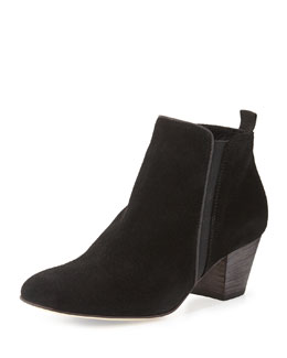 Aquatalia Fabulous Suede Boot with Stacked Heel, Black