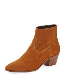 Leather Western Bootie, Tan