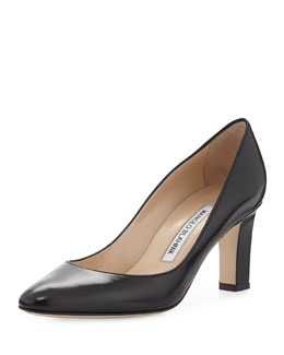 Manolo Blahnik Lisaqua Leather Almond-Toe Pump, Navy