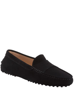 Tod's Suede Gommini Moccasino, Black