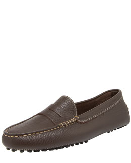Tod's Pebbled Gommini Moccasino, Brown