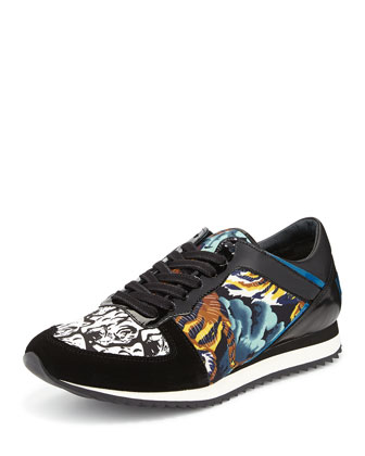Kenzo Tiger-Print Lace-Up Sneaker