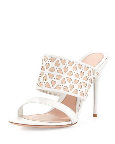 High-Heel Leather Mule, White