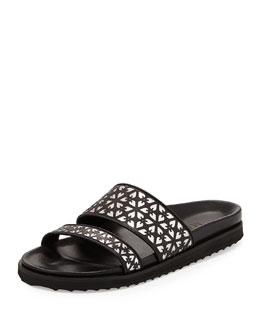 Laser-Cut Leather Double-Band Slide Sandal