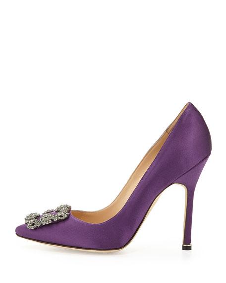 Hangisi Satin Crystal-Toe Pump, Purple
