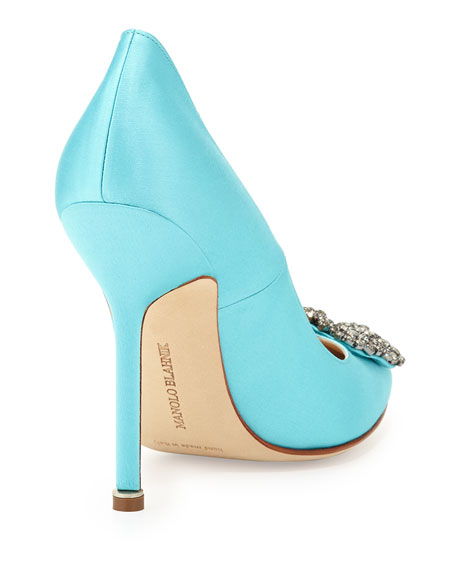 Hangisi Satin Crystal-Toe Pump, Turquoise
