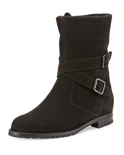 Campocross Belted Mid-Calf Boot with Shearling, Black