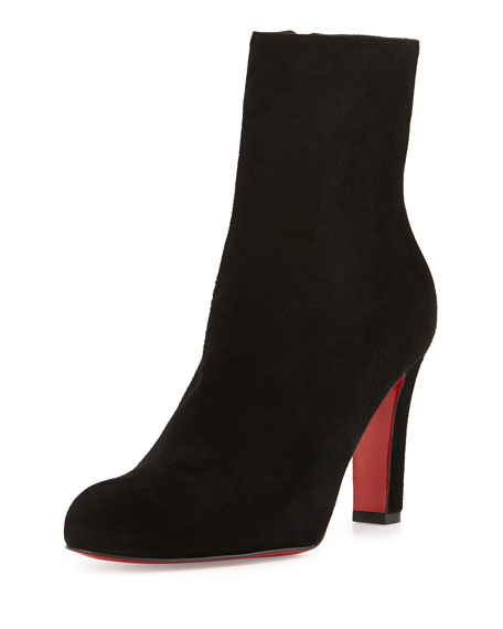 Miss Tack Suede Red Sole Bootie, Black