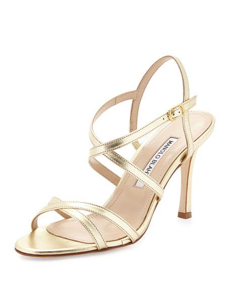 a4c903f77b4a Manolo Blahnik Bayan Strappy Metallic Leather Sandal