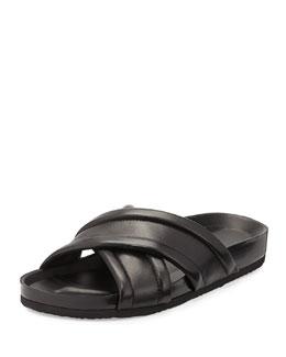 Orson Leather Crisscross Sandal, Black