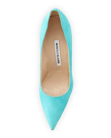 BB Suede Point-Toe Pump, Turquoise