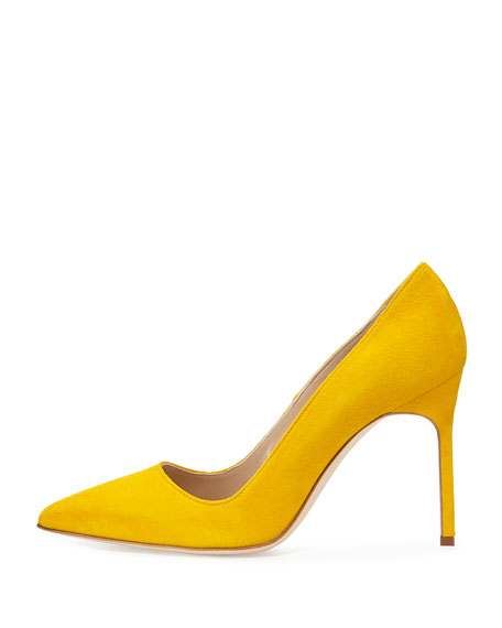 BB Suede Point-Toe Pump, Yellow