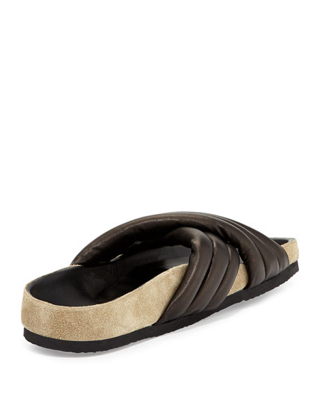 Holden Leather Crisscross Slide, Black