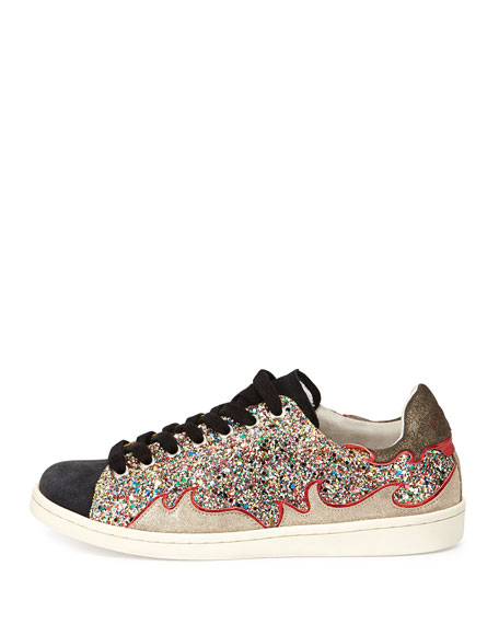 Glitter Suede Flame Trainer