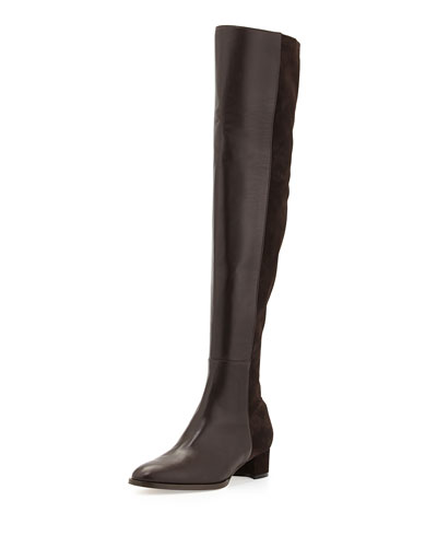 1e2031b5dc550 Manolo Blahnik Pampahi Leather Over-the-Knee Boot, Brown