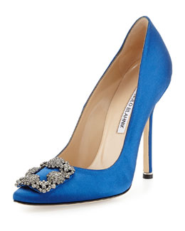 Hangisi Satin Crystal-Toe Pump, Blue
