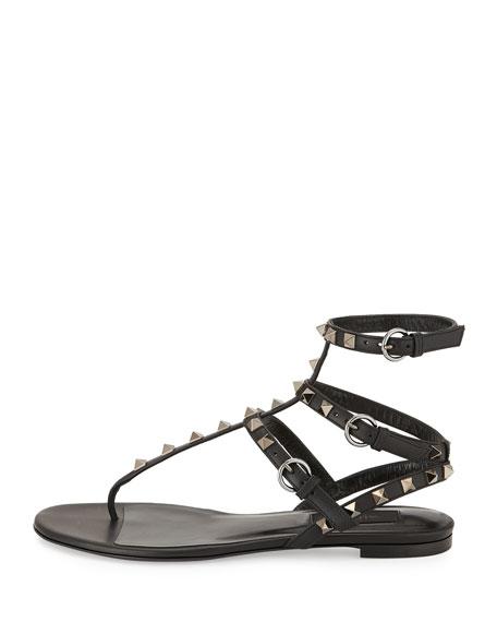 Rockstud Leather Gladiator Sandal, Black