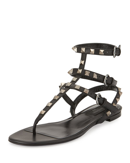 Image 1 of 1: Rockstud Leather Gladiator Sandal, Black