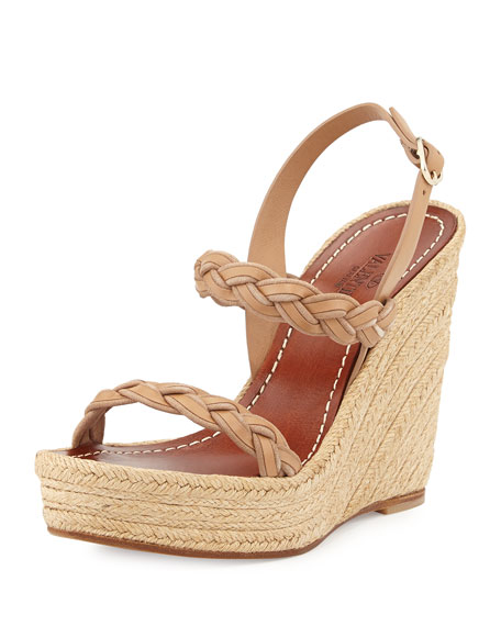 Braided Leather Double-Strap Espadrille, Taupe