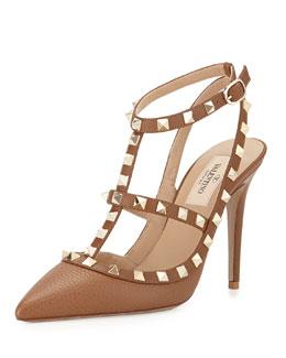 Rockstud Leather Sandal, Taupe