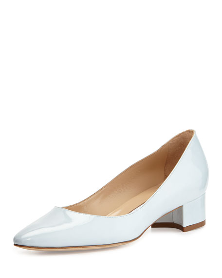 71a93047f6cf0 Manolo Blahnik Listony Patent Low-Heel Pump, Light Gray