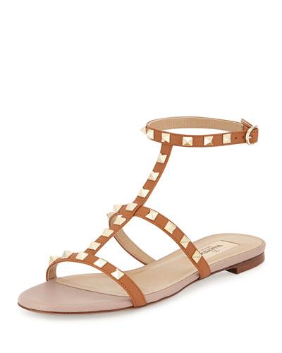 Rockstud Ankle-Strap Flat Sandal, Camel