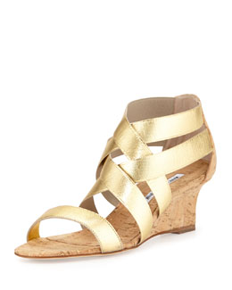 Glassa Strappy Metallic Cork Wedge Sandal, Gold