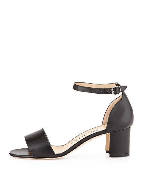 Laurato Leather Chunky Heel Sandal, Black