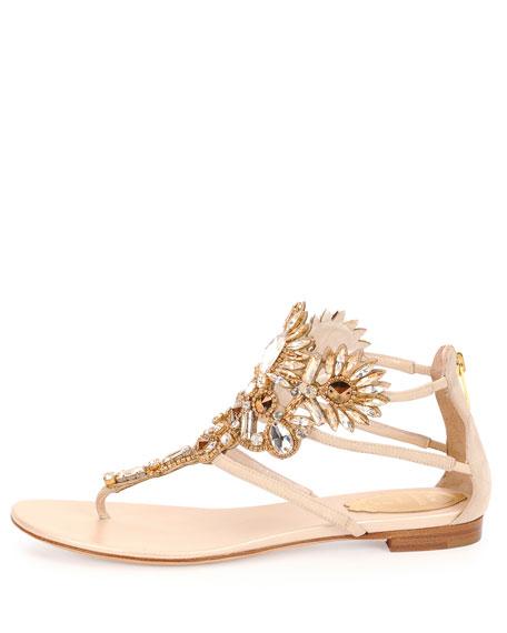 Swarovski Crystal-Embellished T-Strap Sandal, Beige