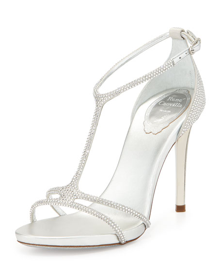 Leather/Satin T-Strap Strass Sandal, Silver