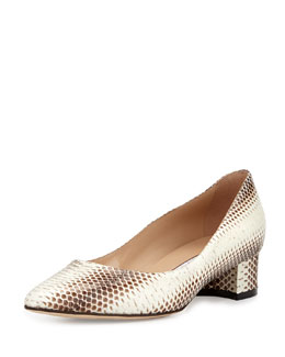 Listony Snakeskin Block-Heel Pump, Light Brown